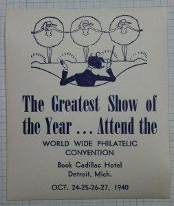 1940 WW Philatelic Convention Detroit MI Greatest Show on Earth Souvenir Ad MNH