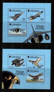 Gibraltar 1999, Fighter Planes & Raptors  MNH  S/S # 811a,814b