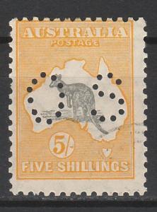AUSTRALIA 1929 KANGAROO OS 5/- SMALL MULTI WMK CTO WITH GUM