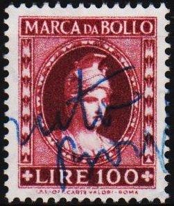Italy. Date? 100L (Marca Da Bollo).Fine Used