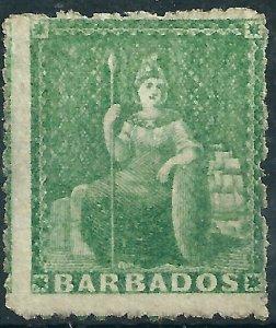 H393) Barbados. 1861/70. Unused. SG 21.1/2d Green. No Wmk. P14 to 16. cv£29+