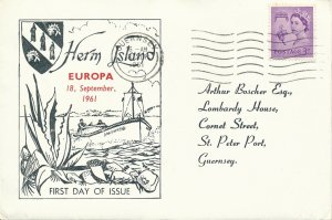 Cover UK 1961 Great Britain Guernsey Isle of Herm Channel Islands FDC Europa