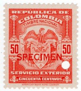 (I.B) Colombia Revenue : Consular Service 50c (ABN Specimen)