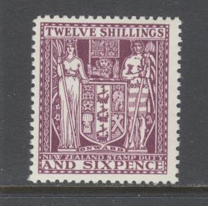 New Zealand Sc AR57, SG F156 MLH. 1935 12sh 6p brown violet Postal Fiscal, VF
