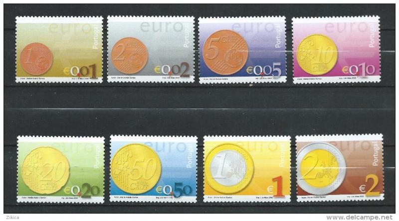 PORTUGAL Scott 2455-2462, MNH** 2002 Euro Coin on Stamp set