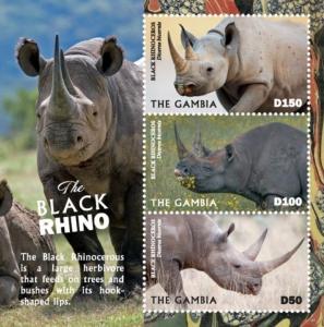 Gambia 2019 Black Rhino (ss/3v)