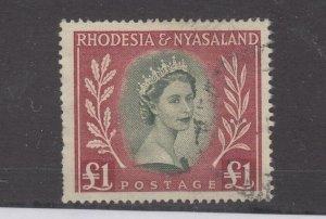 Rhodesia Nyasaland QEII 1954 £1 SG15 VFU JK3092