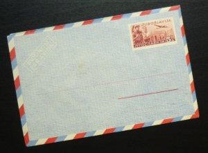 Yugoslavia c1950 Unused Airmail Postal Stationery Envelope - 5 Dinars R! A5