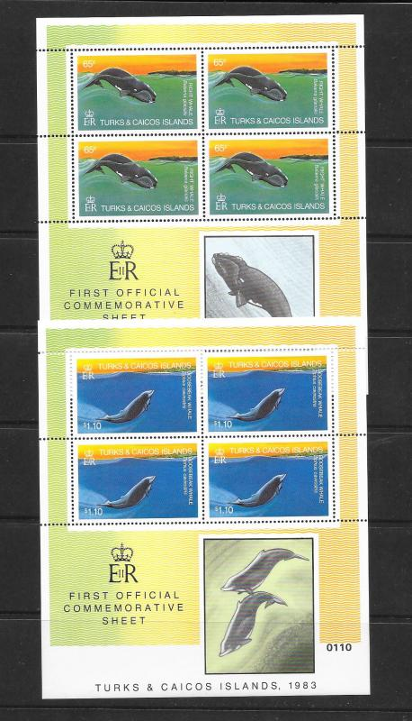 WHALES - TURKS & CAICOS #565 & 568 SHEETLETS OF 4   MNH