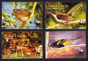 St. Lucia WWF Birds 4v SG#1242-1245 MI#1142-1145 SC#1132-1135