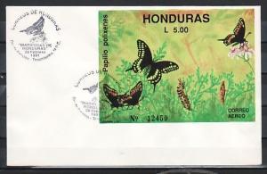 Honduras, Scott cat. C812. Butterfly s/sheet. First Day Cover.