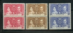 SWAZILAND CORONATION OF GEORGE VI 1937 SC# 24-26 MINT NH PAIRS AS SHOWN