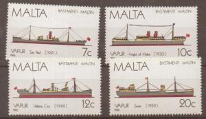 MALTA SG792/5 1986 MALTESE SHIPS MNH