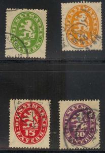 GERMANY Bavaria 034-037 used - Michel Dienstmarken 44-47