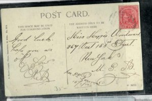ST  KITTS  NEVIS COVER (P0407B)   1D COLUMBUS ON PPC TO USA  #2