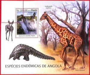 A1561 - ANGOLA - ERROR: MISSPERF  SHEET - 2019  Animals: giraffes PANGOLIN birds