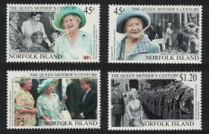 Norfolk 'Queen Elizabeth the Queen Mother's Century' 4v SG#712-715 SC#688-691