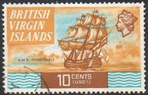 British Virgin Islands 1974 10c HMS Formidable,1782 (P 13½) used