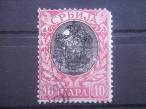 SERBIA, 1903, used 10p, Arms Overprinted Scott 70