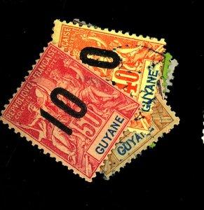 FRENCH GUIANA #87-92 USED 93 MINT FVF OG HR Cat $18