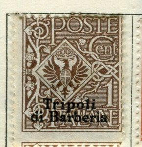 ITALY TRIPOLI; 1910 early Emmanuel issue fine unused 1c. value