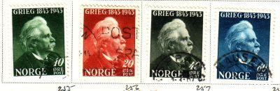 Norway Sc 255-8 1943 Grieg stamps used