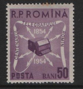 ROMANIA, 1020,  HINGED, 1954, Teletype