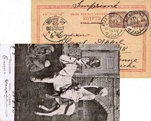 Egypt 1m Sphinx and Pyramid (2) 1901 Alexandrie D PPC (Alexandrie - Scene D'A...