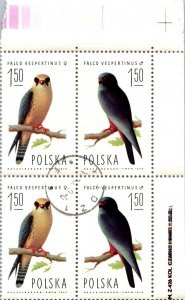 Block of 4 cancelled mint Falco Vespertinus male female prey birds stamps Poland