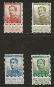 Belgium  (1912)  - Scott # 103 - 107,     MH