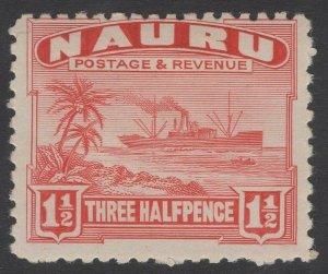 NAURU SG28A 1924 1½d SCARLET MTD MINT