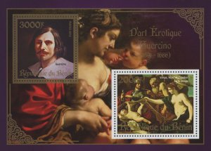 Erotic Art Paintings Guercino Souvenir Sheet of 2 Stamps Mint NH