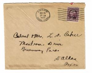 Canal Zone 1933 Cover Ancon CDS  - Z288