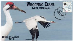 CA18-050, 2018, Birds of Canada, Pictorial, FDC, Whooping Crane