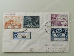 MALAYA 1950 PERAK UPU COMPLETE SET REGISTERED  COVER TO SINGAPORE