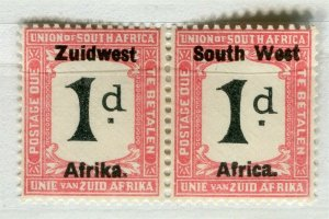 SOUTH WEST AFRICA; 1923 early Postage Due issue Mint hinged 1d. pair
