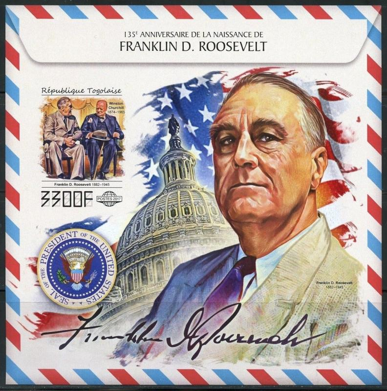 TOGO 2017 135th BIRTH OF FRANKLIN D ROOSEVELT WITH WINSTON CHURCHILL IMPF S/S NH
