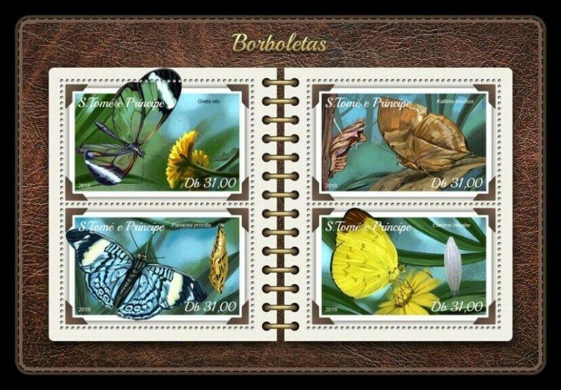 HERRICKSTAMP NEW ISSUES ST. THOMAS Butterflies Sheetlet