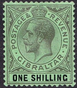 GIBRALTAR 1924 KGV 1/- Black/Emerald SG98 MH