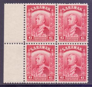 Sarawak Scott 116 - SG111, 1934 Sir Charles Vyner Brooke 6c Red Block of 4 MNH**