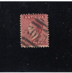 ANTIGUA  # 20  VF-USED  1p 1884 QUEEN VICTORIA / ROSE RED W CANCEL CAT VALUE $19