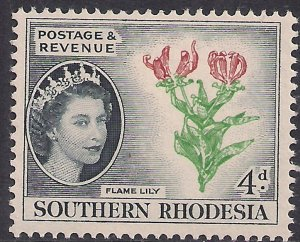 Southern Rhodesia 1953 QE2 4d Flame Lily Umm SG 79 ( F53 )