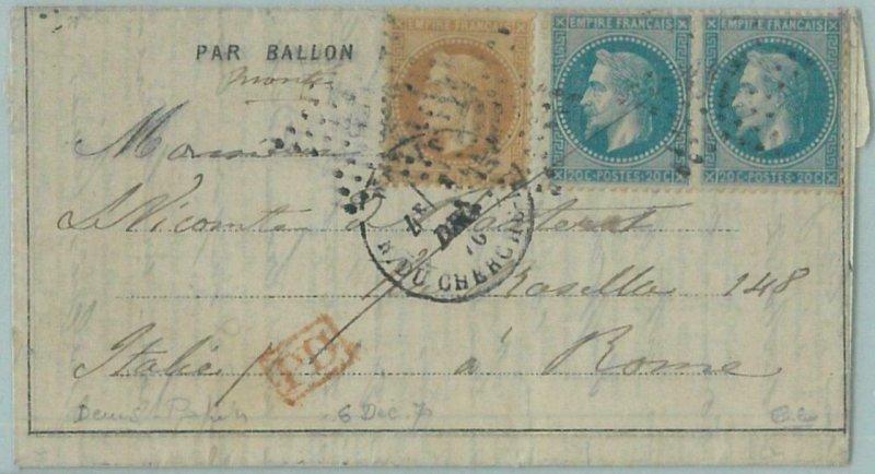 68800 - FRANCE - Postal History -  BALLON MONTE cover 1870 - CALVES - VERY RARE!