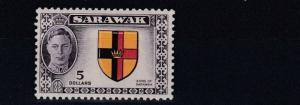 SARAWAK  1950  S G 185  $5  BLACK & RED YELLOW  MH    MH