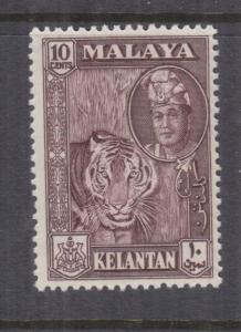 KELANTAN, MALAYSIA, 1961 10c. Deep Maroon, mnh.