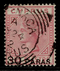 CYPRUS QV SG24, 30pa on 1pi rose, FINE USED. Cat £110. CDS