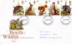 Great Britain 1977 BRITISH WILDLIFE Set (5) FDC