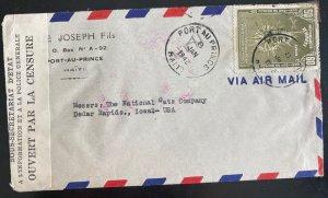 1942 Port Au Prince Haiti Airmail Censored Cover To Cedar Rapids IA Usa