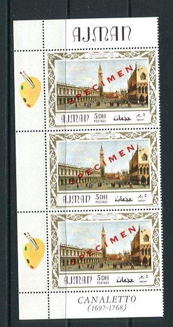 Ajman 1969 Marginal block of 3 with labels description SPECIMEN ART MNH 8734