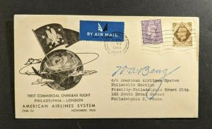1945 Brounemouth England First Flight Cover to Philadelphia PA Pilot Signed